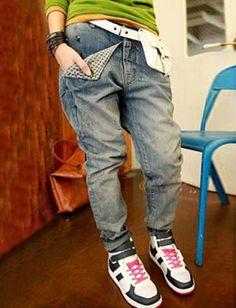 Hippie Tartan Motivo della tasca dei jeans di disegno per le donne