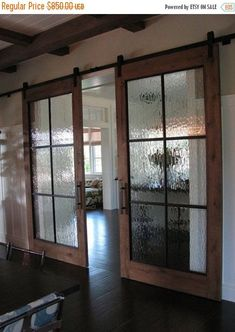 Glass Barn Doors For Closet: A Newest Style Of Bathroom . Conference Room With Sliding Glass Barn Doors In 2019 . More Modern Barn Doors Sun Mountain Door. Home Design Ideas House Design, New Homes, Glass Barn Doors, Rustic House, House Plans, Door Design, Home Remodeling, Home, Rain Glass Door
