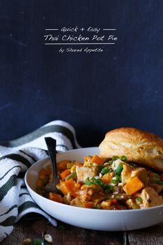 Quick and Easy Thai Chicken Pot Pie. A yummmy recipe for everyone. | sharedappetite.com