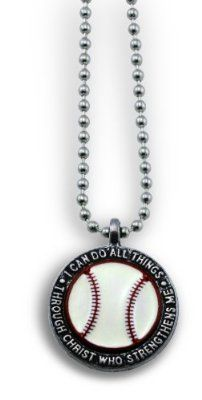 """Forgiven Jewelry - Colorful Baseball Pendant Necklace """"I Can Do All Things Through Christ"""""""