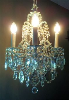 Romantic Cottage Antique Petite Aqua Chandelier by sheriscrystals, Vintage Lamps, Vintage Lighting, Antique Lamps, Pretty Lights, Beautiful Lights, Chandelier Lighting, Crystal Chandeliers, Blue Chandelier, Luxury Chandelier