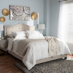 562c608f208 Baxton Studio Emerson Modern and Contemporary Light Beige Fabric  Upholstered King Size BedThe Emerson fabric upholstered bed is relaxed and  quietly elegant.