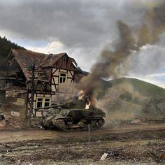 the_ww2_memoirs A M4A3 Sherman tank belonging to the 31st Tank Battalion, 7th Armored Division, slowly burns on a road after being knocked out during the fighting for Oberkirchen, North-Rhine Westphalia, Germany, April 5th, 1945. The M4 Sherman was the main tank for the Americans during WW2 serving on all fronts during its military career. It was fast and powerful, reaching speeds around 30 miles per hour and having a 75mm cannon, this tank seemed revolutionary. They were cheap to produce…