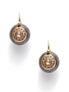 Pave Diamond Disc & Oxidized Silver Orb Drop Earrings by Mizuki on Gilt.com