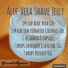 DIY Aloe Vera Shave Jelly Regular shaving cream doesn't moisturize as much as I need it to, so I completely dropped it from my shaving routine. I love this homemade concoction that will leave your skin soft, thanks to coconut oil. Happy shaving!