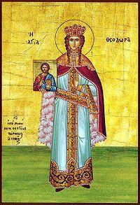 Empress Theodora;  497-548;  The Byzantine empress Theodora was the wife of the  emperor Justinian I (reigned 527–565) and probably  the most powerful woman in Byzantine history. Her intelligence and political acumen made her Justinian's most  trusted adviser and enabled her to use the power and  influence of her office to promote religious and social  policies that favoured her interests.