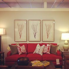 This Arcata Sofa, found at @Jane Connor Allen of Western New York, is one of many items that can be tailored to your fit your personal taste and the color scheme of your home. This one, in Solid Red, works beautifully with the Antique Coral Specimen artwork currently featured by Ethan Allen. It's all part of the New Eclecticism. #comfortablelikeneverbefore