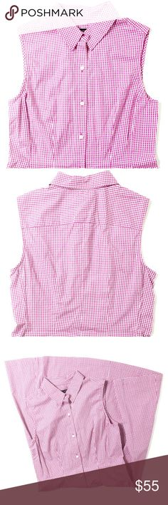"Talbots Gingham Shirt Dress A perfect, feminine summer staple -- Talbots pink + purple gingham print button-down dress with a fit and flare shape. Like-new condition. Size 6. Length of 40"" and waist of 31"". Retail $149. Talbots Dresses"