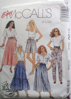 Easy Skirt, Pants, Culottes or Shorts Sewing Pattern  - McCall's 4798 - Size…