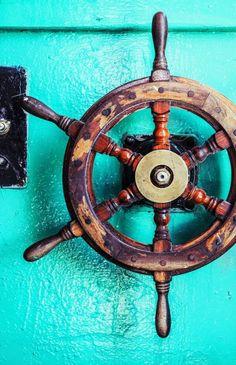#nautical #wheel #vintage #blue
