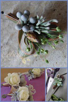 Brunia Berries, fern curls, dusty miller, all cool elements!