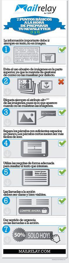 7 puntos básicos para tu newsletter #infografia #infographic #marketing #internet