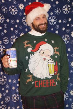 Ugly Christmas Mens Red Santa Claus Beer Bottle Christmas Fleece Sweater  M L