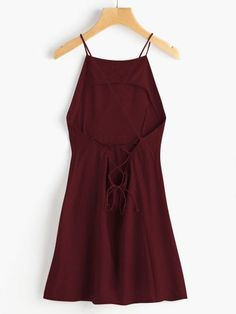 Criss Cross Lace Up Open Back Cami Dress