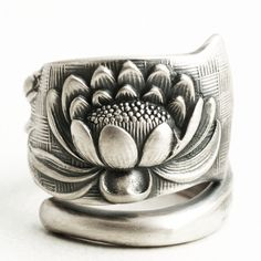 Lotus Flower Ring, Sterling Silver Spoon Ring, Pond Lily Ring, Pond Lilly, Art Nouveau Ring, Handmade, Jewelry Custom Ring, Shiebler (6416) by Spoonier on Etsy
