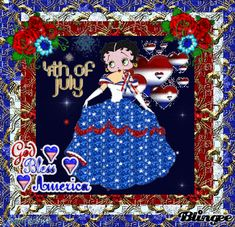 "Betty Boop Images of Fireworks | This ""4th of july"" picture was created using the Blingee free online ..."