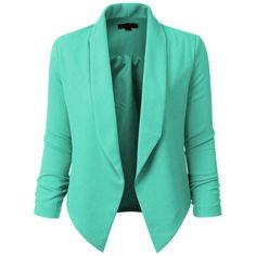 LE3NO Womens Textured 3/4 Sleeve Open Blazer Jacket (120850 PYG) ❤ liked on Polyvore featuring outerwear, jackets, blazers, casaco, coats, green blazer, three quarter jacket, textured blazer, green blazer jacket and textured jacket
