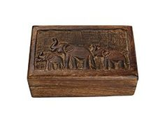 Rustic Hand Carved Keepsake Box Trinket Jewelry Organizer with Elephant Design from Store Indya Available at joyfulcrown.com
