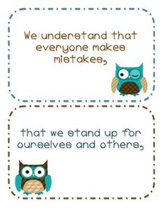 LOVE THESE-- just what i was looing for and FREE!--Owl themed classroom pledge/promise to each other