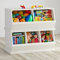 Shop Storagepalooza: Kids Stacking Toy Storage.  Vegetable bins were the inspiration for our stacking toy, book and game storage unit.  Mix and match with colorful choices storage choices.