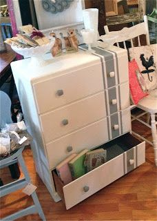 'Linen' stripe dresser. $150