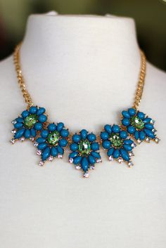 Spring Jewels Necklace {Teal + Green} #jewelry #necklace #statement #bling #cute