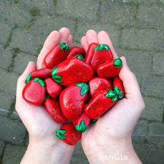 handful of painted rock strawberries