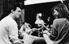 Matthew Perry and Jennifer Aniston on the set of Friends