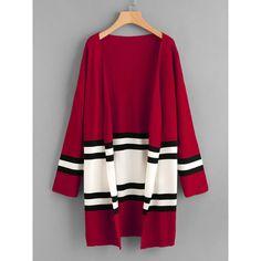 Contrast Stripe Panel Drop Shoulder Jersey Cardigan (34 BAM) via Polyvore featuring tops, cardigans, jersey top, purple cardigan, drop-shoulder tops, purple top i cardigan top