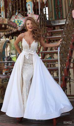 Tarik Ediz - 50452 Bedazzled Deep V-neck Dress With Overskirt Dress Skirt, Lace Dress, Wedding Motifs, Deep V Neck Dress, Contemporary Fashion, Bridal Style, Bridal Dresses, Ball Gowns, Sherri Hill