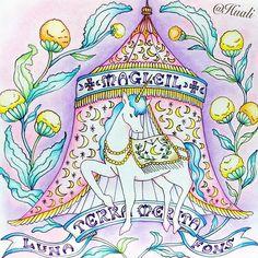 キキララっぽいカラーで着色してみたくて、このページをチョイス。わたし的には正解❤️❤️ 遅ればせながら。。。ロマンティックカントリーかわいい〜😍😍 #大人の塗り絵 #ロマンティックカントリー #コロリアージュ #coloriage #パステルカラー #メルヘン #ユニコーン#prazeremcolorir