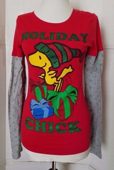 WOODSTOCK Holiday Chick Shirt Womens sz S Red grey Long sleeves Peanuts #PeanutsWorldwideLLC #KnitTop