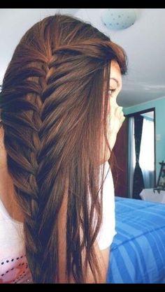 Mermaid braid... much better than just straight back!