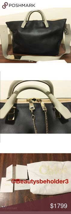 """$2245 CHLOE Baylee Black & Grey XL Shoulder Bag Comes with authentication card, care card, ( you can register the bag) & dust bag. Chloé Black Bat and Marshmallow Grey calfskin Baylee LARGE shoulder bag Nordstrom tag $2245 plus tax  Polished pale-goldtone hardware Lined with fabric; one zip pocket, one card slot and two slip pockets at interior Rolled top handles; detachable, adjustable shoulder strap Top two-way-zip closure styled with chain detail 12"""" height x 19"""" width x 18"""" length…"""