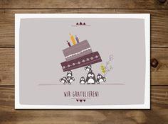 Dierenkaarten - Postkarte Wir Gratulieren - Pinguine - Een uniek product van catsonappletrees op DaWanda