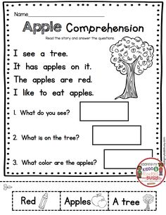 KINDERGARTEN – September Freebies – Reading and Math No Prep Pack with FREE printables – Common Core Aligned for Back to School Activities - Kids education and learning acts First Grade Reading Comprehension, Phonics Reading, Reading Comprehension Worksheets, Reading Passages, Comprehension Strategies, Reading Response, English Worksheets For Kindergarten, First Grade Worksheets, In Kindergarten