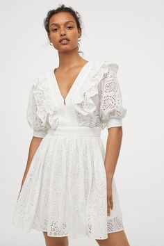 Eyelet Embroidered Dress - White - | H&M US