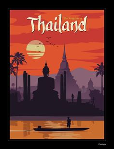 Vintage Travel Image of Vintage Thailand Poster - Size - Digital Print on 80 lb cover matte white *SHIPPING DETAILS* Items will be mailed out in tubes within 3 days after order. Art Vintage, Photo Vintage, Vintage Ads, Vintage London, Vintage Room, Thailand Art, Thailand Travel, Bangkok Thailand, Spain Travel