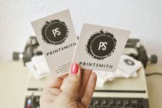 Custom letterpress tags and business cards for Printsmith