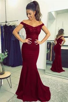Burgundy Prom Dresses,Elegant Prom Dress,V-neck Prom Dress,Long Prom Gown,Mermaid Prom Dresses,Beaded Evening Gowns H01389