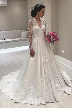 Fantastic Tulle & Satin V-neck Neckline A-line Wedding Dress With Beadings & Lace Appliques