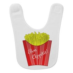 "Have a French-speaking friend or trying to bring up bébé as a francophone? Help them keep meal-times en français with this adorable bib that wishes people a good meal with the French expression ""bon appétit"" (""enjoy your meal"" in English)!"
