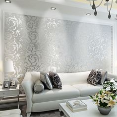 Details about Victorian Damask Embossed Wallpaper Rolls Feature TV Background Decor Silver – Interior ♦ Raumgestaltung Wallpaper Decor, Home Wallpaper, Gold Living Room, Decor, Interior Design, Living Room Decor, Luxury Wallpaper, Home Interior Catalog, Interior