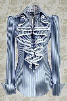 Blue & White Striped Shirt/Blouse with Big Front Frill edged in White . Modest Outfits, Modest Fashion, Fashion Dresses, Apostolic Fashion, Skirt Outfits, Dress Skirt, Summer Outfits, Women's Fashion, French Cuff Shirts