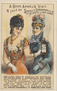 """""""A Good Angel's Visit"""" // Scovill's Sarsaparilla and Blood & Liver Syrup // Victorian trade card"""