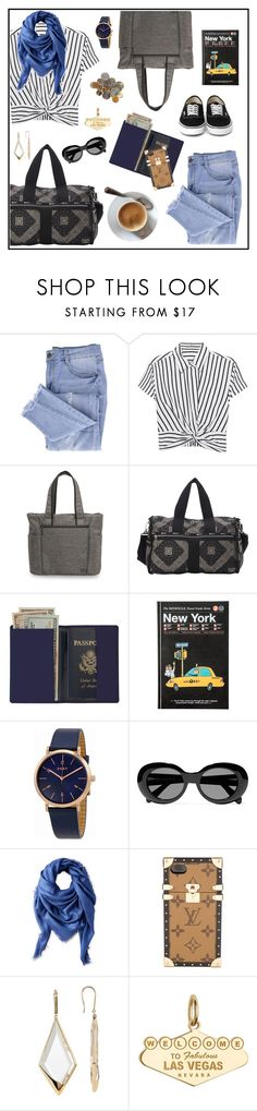 """#airportstyle"" by hellodollface ❤ liked on Polyvore featuring Essie, T By Alexander Wang, Ricardo, LeSportsac, Royce Leather, DKNY, Acne Studios, Liberty, Louis Vuitton and Lana Jewelry"