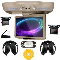 Ouku 12.1 Inch Roof Mount Overhead Monitor Ceiling Car DVD Player with TV FM Transmitter + 2 Free Headphones (Beige). OSD Languages: English, French, German, Spanish. Video System---Support PAL/NTSC Auto Switch. Slot-in DVD player, with SD/USB Port, with 32 Bit GAME. Support wireless infrared earphone or FM transmitter. It comes with free pair of wireless ir headphones.