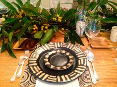 Honduran Pottery Table Setting. Natural Japanese plum branches