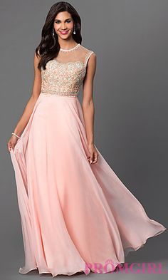 Open Back Sleeveless Floor Length Dave and Johnny Dress at PromGirl.com