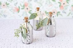 DIY painted glass jars for wedding favors